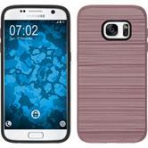 Hybrid Hülle Galaxy S7 brushed Case Roségold + 2 Schutzfolien