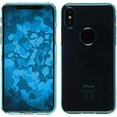 Silicone Case iPhone X transparent turquoise + glass film