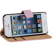 Artificial Leather Case for Apple iPhone 5 / 5s Wallet pink