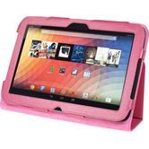Kunst-Lederhülle Nexus 10 Wallet pink + 2 Schutzfolien