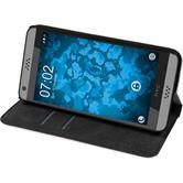 Kunst-Lederhülle für HTC Desire 630 Book-Case weiß + 2 Schutzfolien