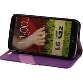 Kunst-Lederhülle für LG G2 Premium lila + 2 Schutzfolien