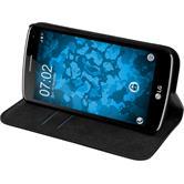 Kunst-Lederhülle für LG K5 Book-Case schwarz + 2 Schutzfolien