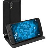 Kunst-Lederhülle für Motorola Moto G4 Plus Book-Case schwarz + 2 Schutzfolien