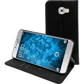 Kunst-Lederhülle Galaxy C7 Pro Book-Case schwarz + 2 Schutzfolien