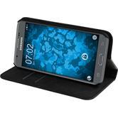 Kunst-Lederhülle Galaxy J3 Emerge Book-Case schwarz + 2 Schutzfolien