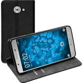 Kunst-Lederhülle Galaxy J7 Max Book-Case schwarz + 2 Schutzfolien