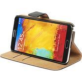Kunst-Lederhülle Galaxy Note 3 Wallet schwarz + 2 Schutzfolien