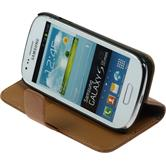 Artificial Leather Case for Samsung Galaxy S3 Mini Premium brown
