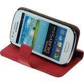 Kunst-Lederhülle Galaxy S3 Mini Premium rot + 2 Schutzfolien