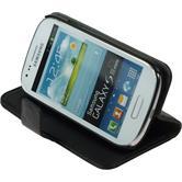 Kunst-Lederhülle Galaxy S3 Mini Premium schwarz + 2 Schutzfolien