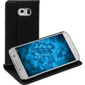 Kunst-Lederhülle für Samsung Galaxy S7 Book-Case schwarz + 2 Schutzfolien
