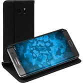 Kunst-Lederhülle für Samsung Galaxy S7 Edge Book-Case schwarz + 2 Schutzfolien