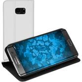 Kunst-Lederhülle für Samsung Galaxy S7 Edge Book-Case weiß + 2 Schutzfolien