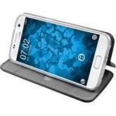 Kunst-Lederhülle für Samsung Galaxy S7 Etui schwarz + 2 Schutzfolien