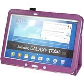 Kunst-Lederhülle Galaxy Tab 3 10.1 Wallet lila + 2 Schutzfolien