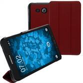 Kunst-Lederhülle Galaxy Tab A 7.0 2016 (T280) Tri-Fold rot + 2 Schutzfolien