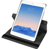 Kunst-Lederhülle iPad Air 2 360° Stoffoptik grau + 2 Schutzfolien