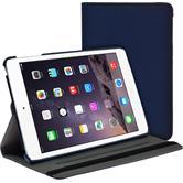 Kunst-Lederhülle iPad Mini 3 2 1 360° Stoffoptik blau + 2 Schutzfolien