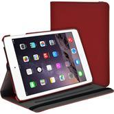 Kunst-Lederhülle iPad Mini 3 2 1 360° Stoffoptik rot + 2 Schutzfolien