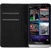 Kunst-Lederhülle für BlackBerry Z30 Book-Case weiß + 2 Schutzfolien