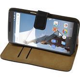 Kunst-Lederhülle Nexus 6 Wallet schwarz + 2 Schutzfolien