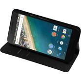 Kunst-Lederhülle Nexus 5X Book-Case schwarz + 2 Schutzfolien