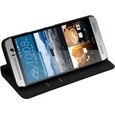 Kunst-Lederhülle für HTC One M9 Plus Book-Case schwarz + 2 Schutzfolien