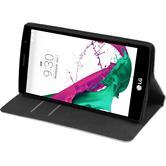 Kunst-Lederhülle für LG G4s / G4 Beat Book-Case weiß + 2 Schutzfolien