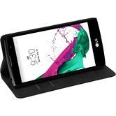 Kunst-Lederhülle für LG G4c Book-Case schwarz + 2 Schutzfolien