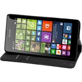 Kunst-Lederhülle für Microsoft Lumia 535 Book-Case schwarz + 2 Schutzfolien