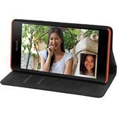 Kunst-Lederhülle für Microsoft Lumia 540 Dual Book-Case schwarz + 2 Schutzfolien