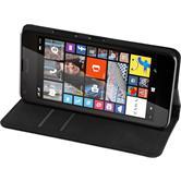 Kunst-Lederhülle für Microsoft Lumia 640 Book-Case schwarz + 2 Schutzfolien