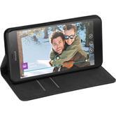 Kunst-Lederhülle Lumia 640 XL Book-Case schwarz + 2 Schutzfolien