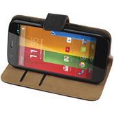 Kunst-Lederhülle für Motorola Moto G Wallet schwarz + 2 Schutzfolien