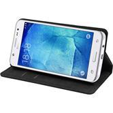 Kunst-Lederhülle für Samsung Galaxy J5 (J500) Book-Case schwarz + 2 Schutzfolien