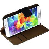 Kunst-Lederhülle für Samsung Galaxy S5 mini Wallet schwarz + 2 Schutzfolien