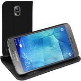 Kunst-Lederhülle für Samsung Galaxy S5 Neo Book-Case schwarz + 2 Schutzfolien