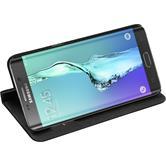 Kunst-Lederhülle für Samsung Galaxy S6 Edge Plus Book-Case schwarz Case