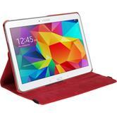 Kunst-Lederhülle Galaxy Tab 4 10.1 360° rot + 2 Schutzfolien