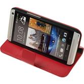 Artificial Leather Case for HTC One  red