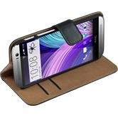 Artificial Leather Case for HTC One M8 Wallet black