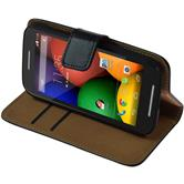 Artificial Leather Case for Motorola Moto E Wallet black