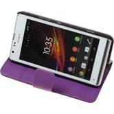 Artificial Leather Case for Sony Xperia SP Premium purple