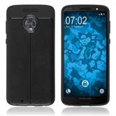 Silikon Hülle Moto G6 Lederoptik schwarz Case