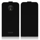 Kunst-Lederhülle Moto C Plus Flip-Case schwarz + 2 Schutzfolien