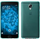 Silicone Case OnePlus 3T transparent turquoise + protective foils
