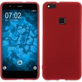Silicone Case P10 Lite matt red + protective foils