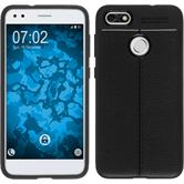 Silicone Case P9 Lite Mini leather optics black Case