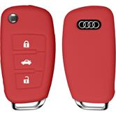 PhoneNatic car key silicone case for 3-Key remote for Audi A3 in red flip folding 3-Key